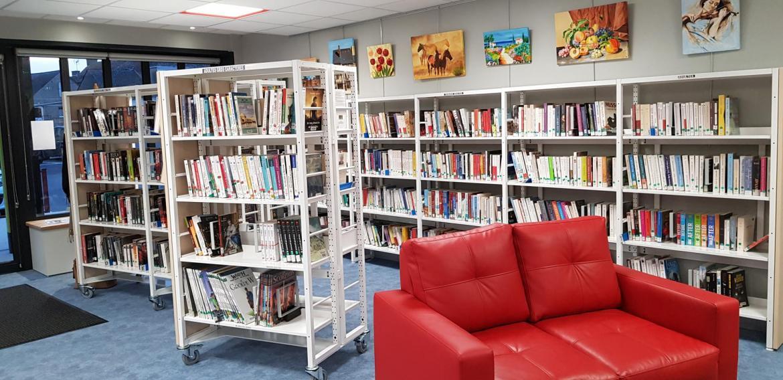 Un espace adulte avec des romans, romans policiers, romans en gros caractères